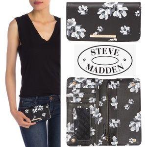 🆕🌷 Black Floral Foldover Wallet Clutch BFLIP